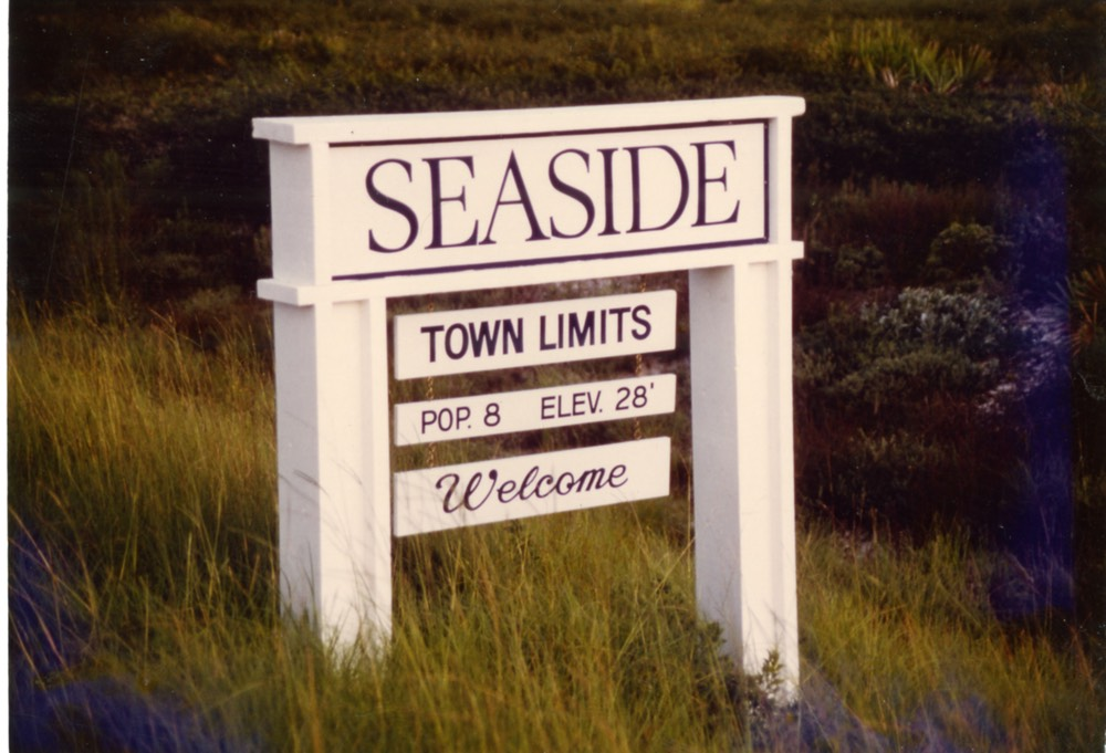 Photo Courtesy of The Seaside Institute Town sign in early 1980s. Seaside's population fluctuates with the seasons— locals used to count the dogs, too.