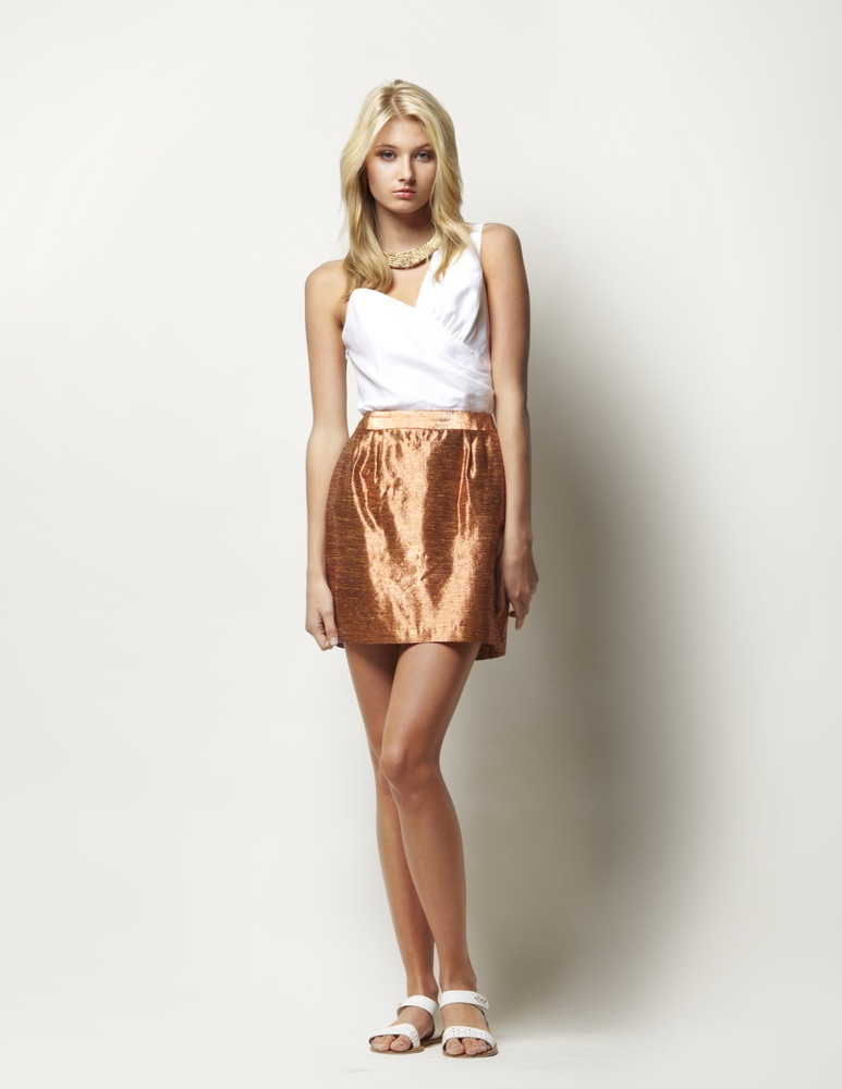 Lauren Leonard Leona Collection, white top with shimmer skirt
