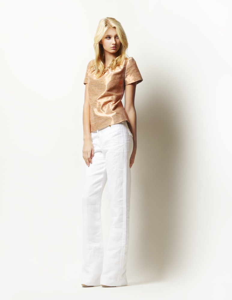 Lauren Leonard Leona Collection, White pants and shimmer top