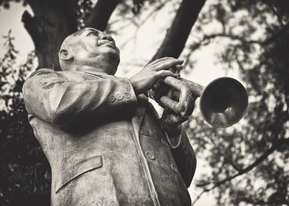 A statue of blues legend W.C. Handy on Beale Street