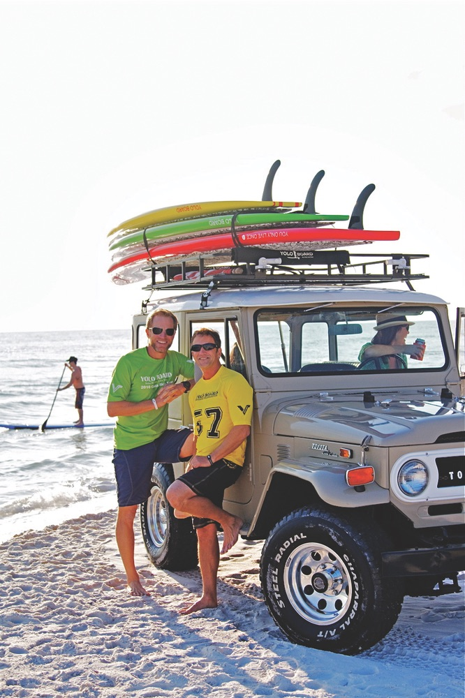 Jeff Archer and Tom Losee serve up a good dose of YOLO on beautiful Grayton Beach, Florida Photo by www.chrismrogers.com