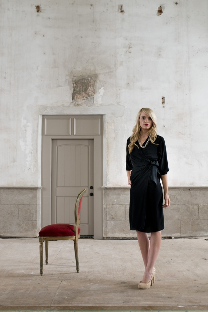 The Helene is an elegant black silk crepe de chine wrap dress