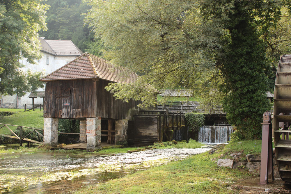Old mill and former abbey on the grounds of Vrhnika's industrial museum