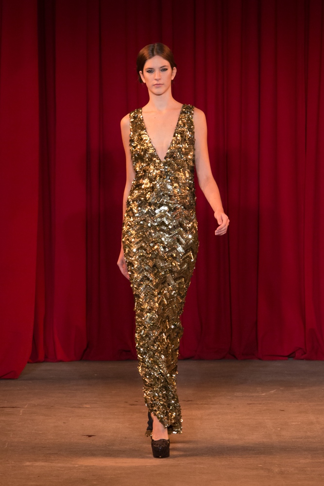 vie magazine fashion week fall 2013 model walks runway gold dress
