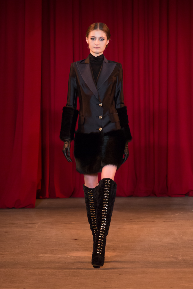 vie magazine fashion week fall 2013 model walks runway tall black boots