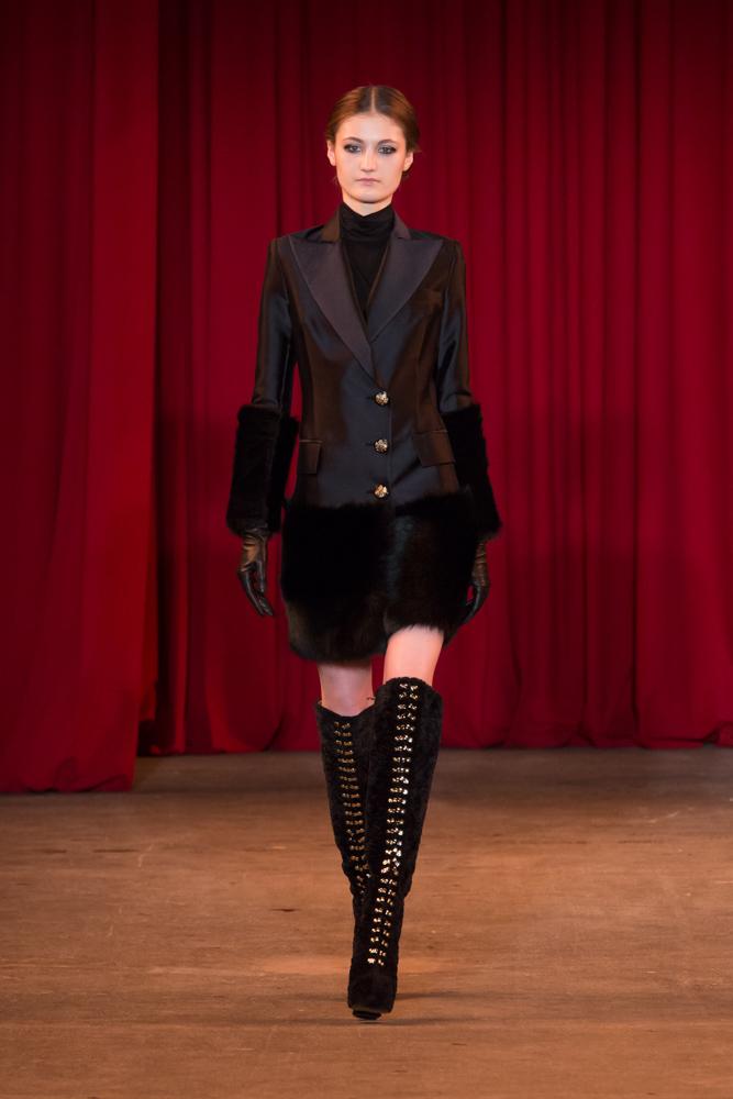 vie magazine fashion week fall 2013 model walks runway tall black boots