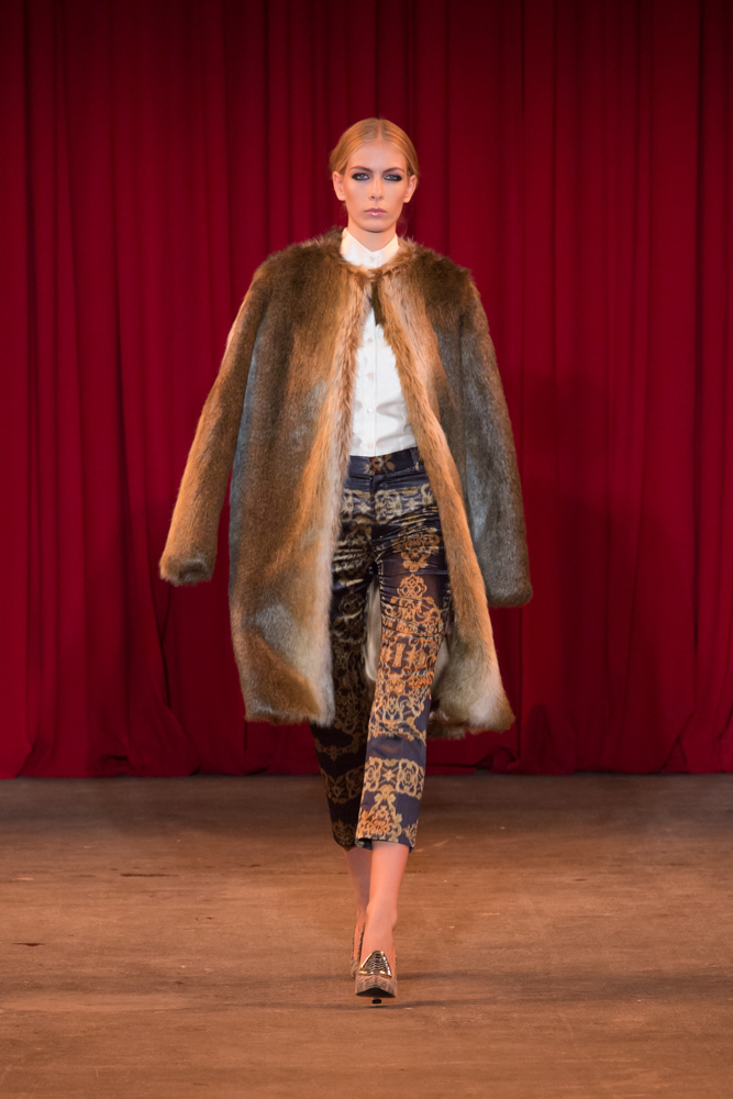 vie magazine fashion week fall 2013 model walks runway fur coat