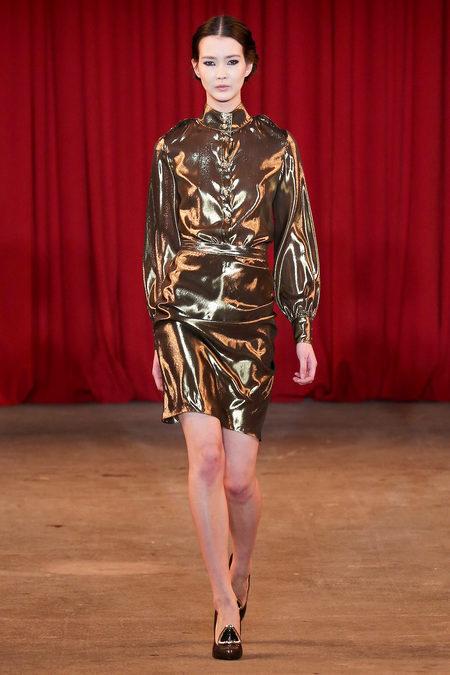 vie magazine fashion week fall 2013 model walks runway gold dress