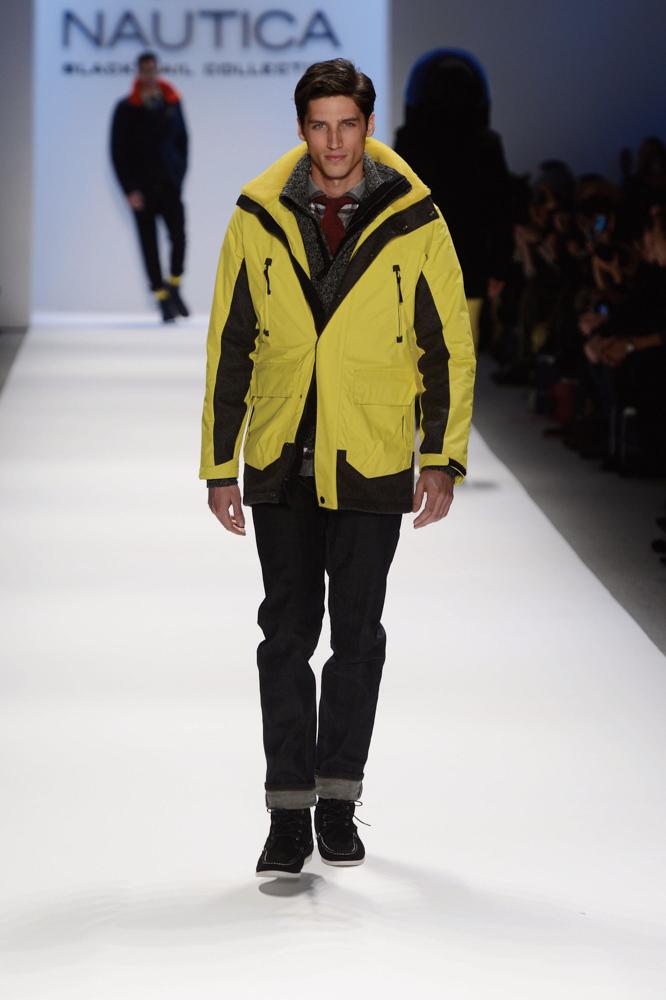 model walks the runway at the Nautica Men's Fall 2013 fashion show during Mercedes-Benz Fashion Week Fall 2013