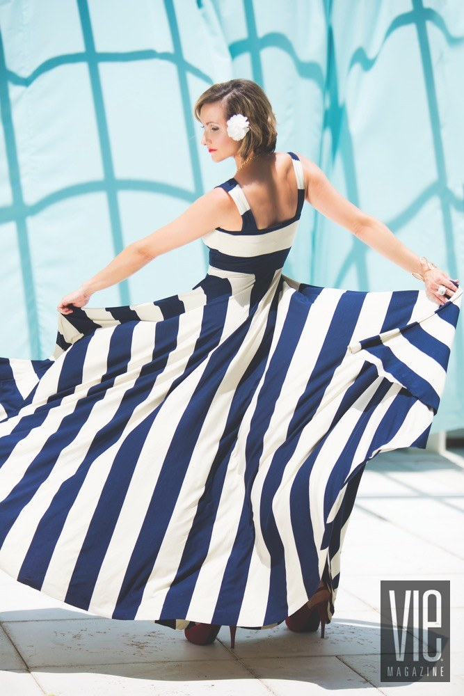 Vie Magazine Maison de Vie navy stripe dress