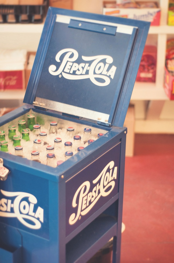 Old fashioned Pepsi Cola cooler at Red Bay Grocery