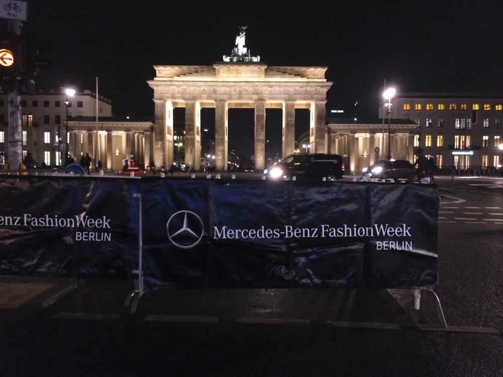 VIE Magazine takes on Berlin Mercedes-Benz Fashion Week Autumn/Winter 2014. Brandenburger Tor at night, facing the main tents. Photo by Amanda Crowley