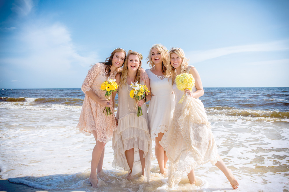 Bridesmaids and bride in gulf at Mexico Beach wedding photo shoot, photos by Romona Robbins