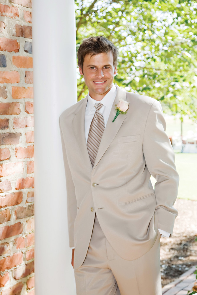 Groom at Vaughn and Tim Spanjer wedding Hamilton Place at Pursell Farms