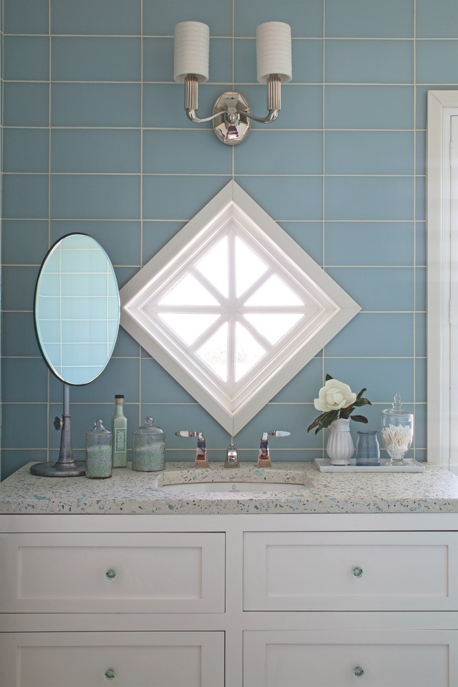 Bathroom of Legacy Home designed by New York Architect John Kirk, residing in WaterSound Beach, Florida VIE Magazine