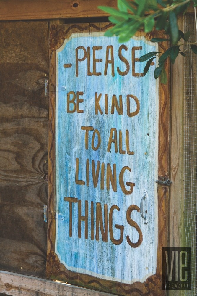 Vie Magazine Alaqua Animal Refuge Sign Please be good to all living things