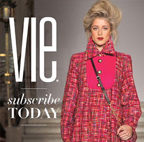 Subscribe to vie magazine text with model