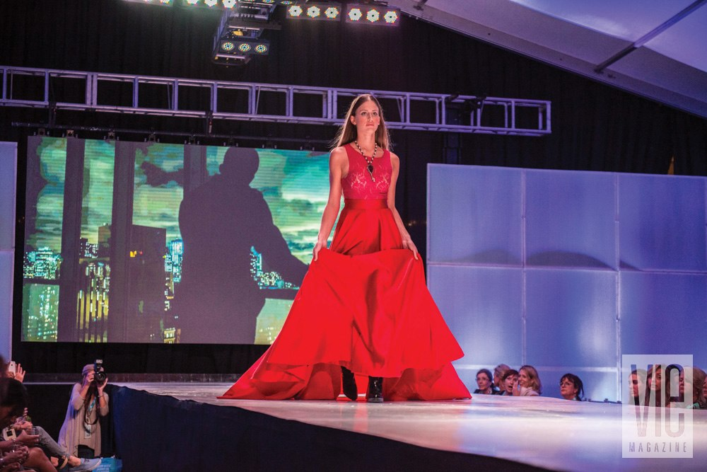 Vie Magazine South Walton Fashion Week 2014 girl in red dress on runway