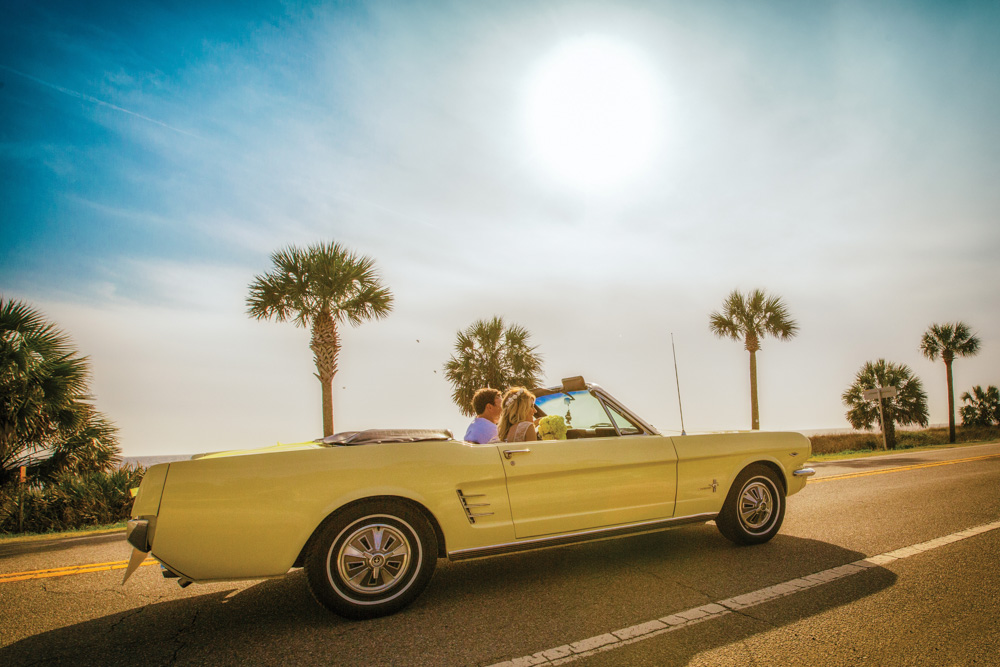 Mexico Beach Florida wedding getaway car