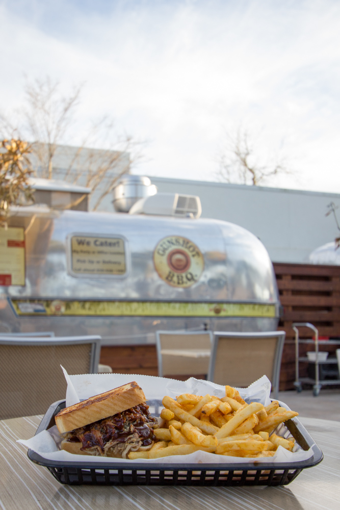 BBQ sandwich and fries food truck