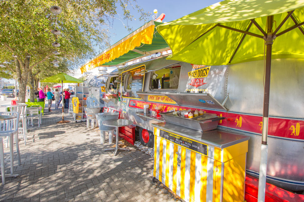 Seaside food trucks in a row