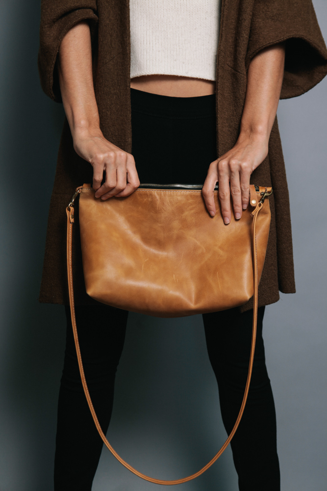 Cognac colored Ceri Hoover crossover bag