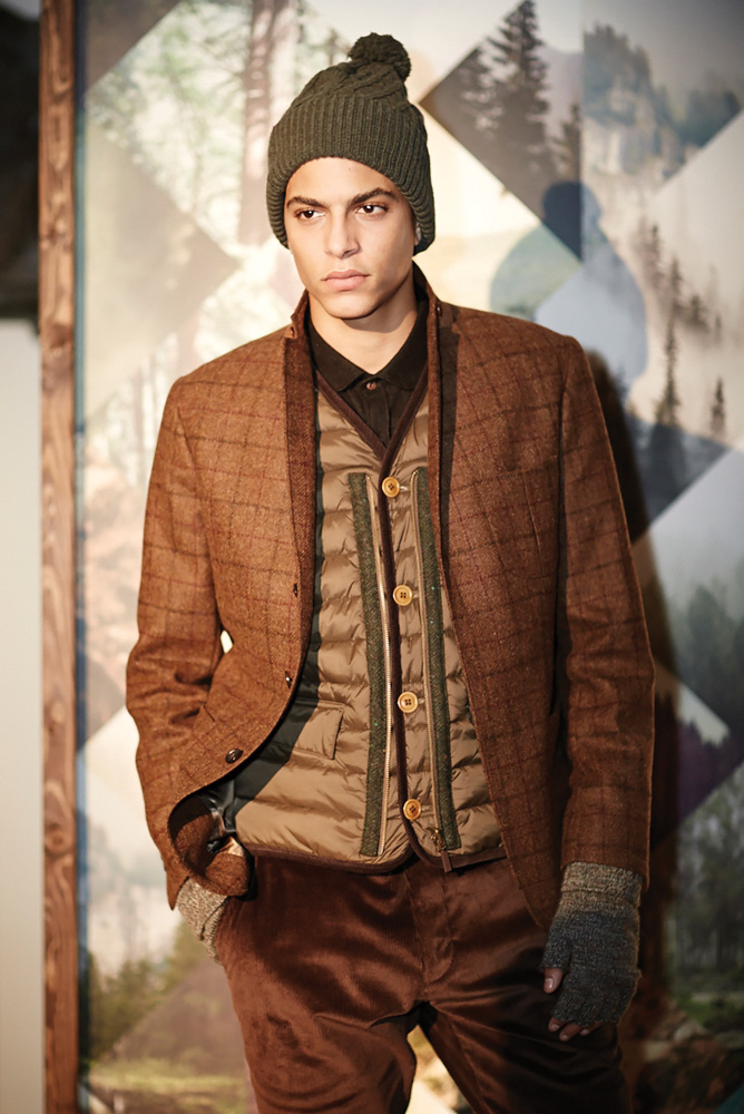 Fashion model sporting menswear outerwear at London's Fashion Week Fall Winter 2015