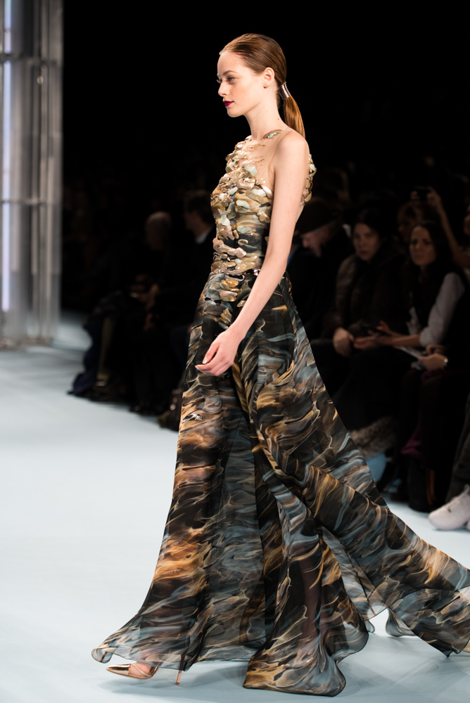 Model of Carolina Herrera show walking down the runway at Mercedes Benz Fashion Week