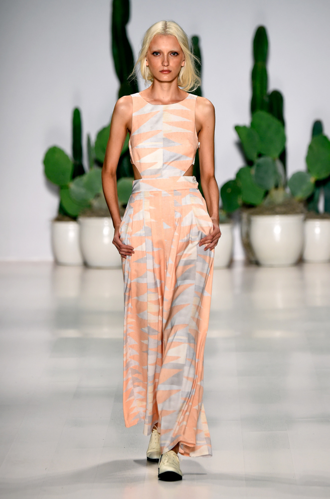 model walks runway at Mara Hoffman fashion show Mercedes Benz Fashion Week Spring 2015