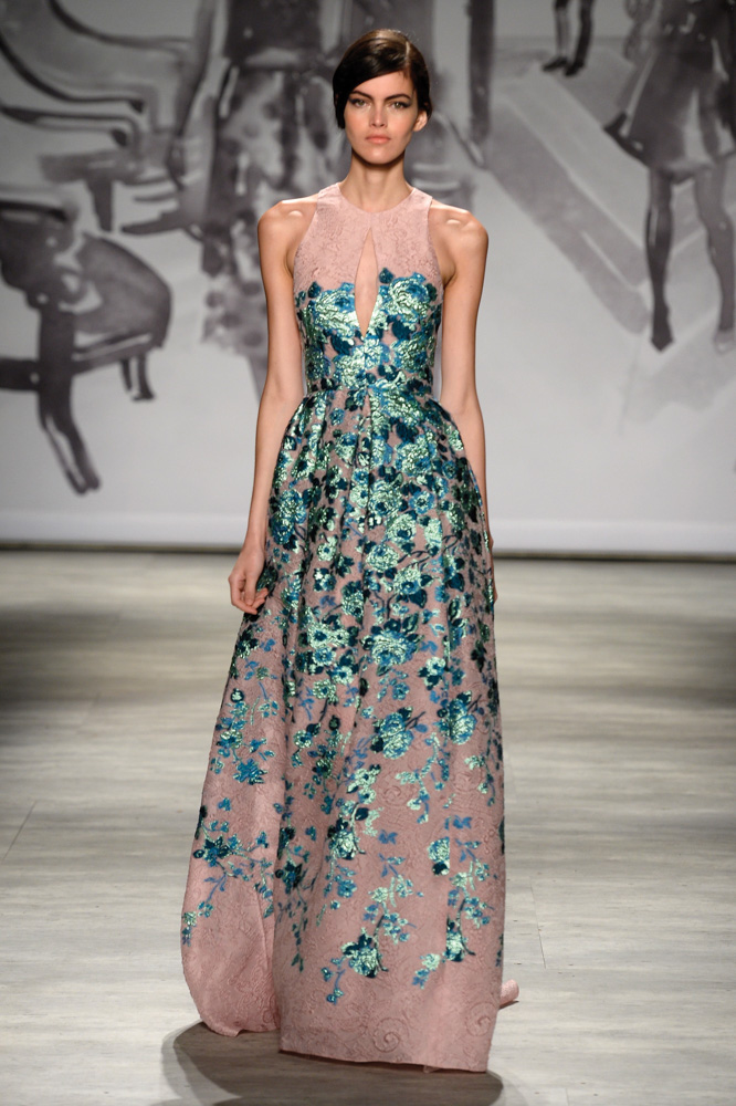 model in dress on runway at Lela Rose fashion show Mercedes Benz Fashion Week Spring 2015