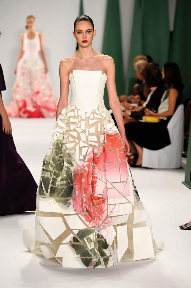 model in dress walks runway at Carolina Herrera fashion show Mercedes Benz Fashion Week Spring 2015