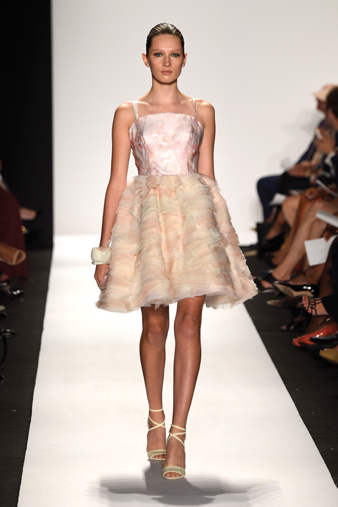 model in dress walks runway at Dennis Basso fashion show Mercedes Benz Fashion Week Spring 2015