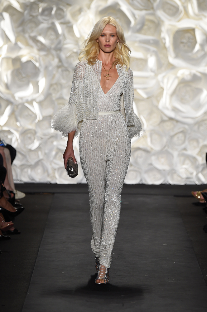 model on runway at Naeem Khan fashion show Mercedes-Benz Fashion Week Spring 2015