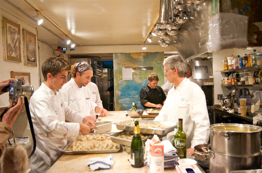 Chef Gus Silivos and sous chefs in the James Beard kitchen