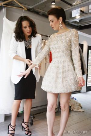 Allyson Longshore styling Eve in a beautiful Oscar de la Renta dress
