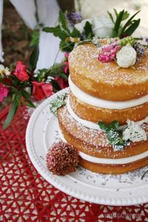 """An amazingly gorgeous """"naked"""" wedding cake by Roux 30a."""