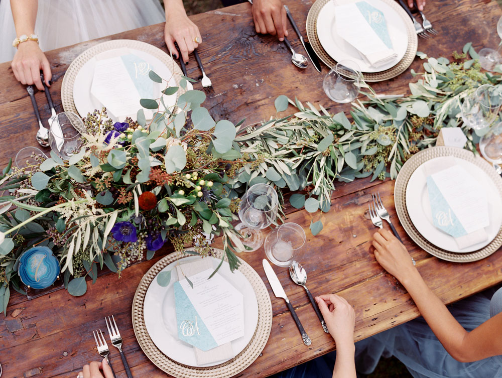simple earthy wedding table setting