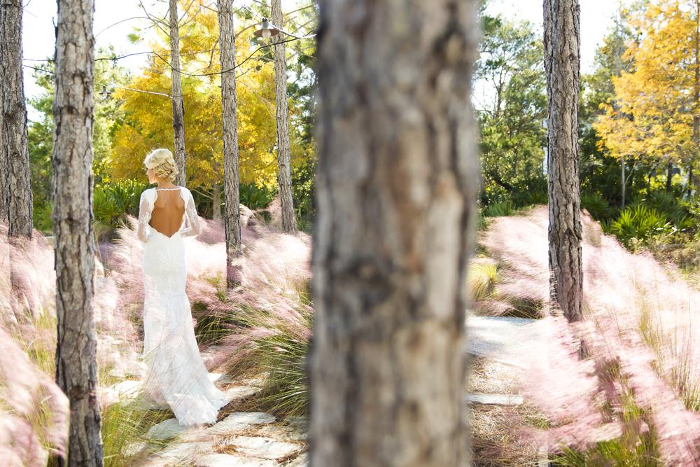 lauren in the woods for wedding photos