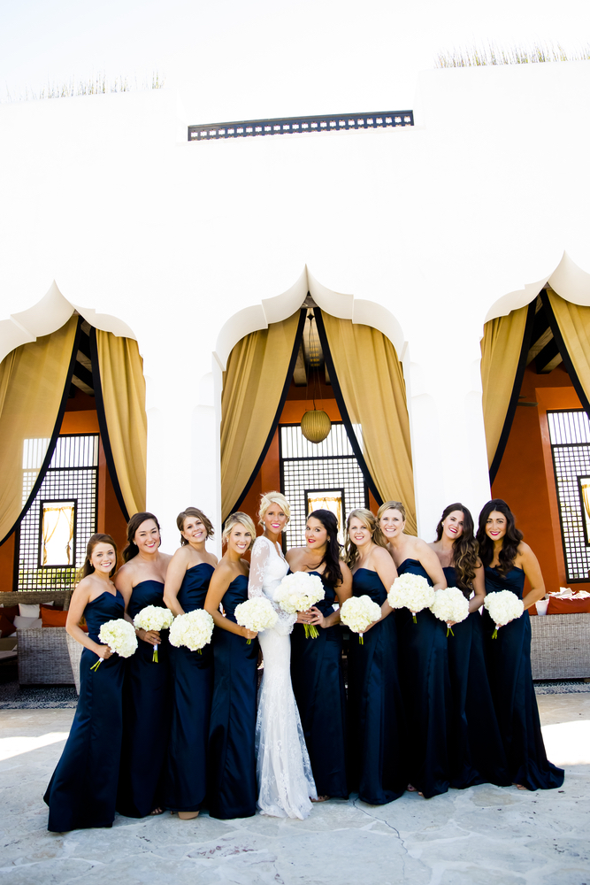 lauren and bridesmaids for the wedding at caliza pool in alys beach florda