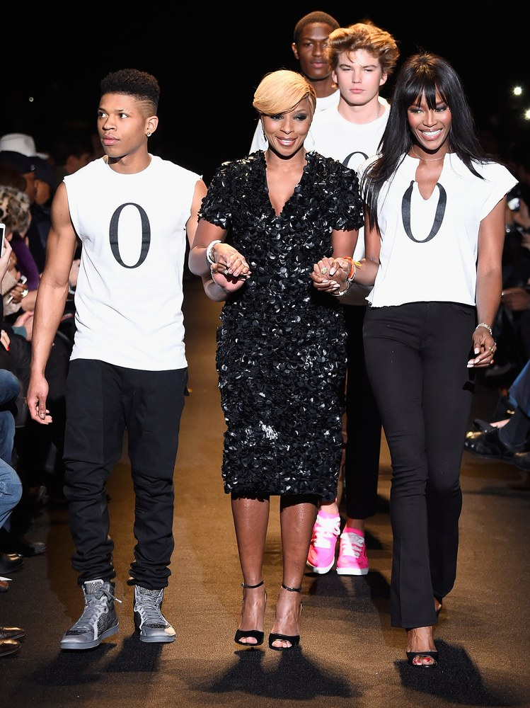 Bryshere Gray, Mary J. Blige and Naomi Campbell walk the runway at Naomi Campbell's Fashion For Relief Charity Fashion Show during Mercedes-Benz Fashion Week Fall 2015