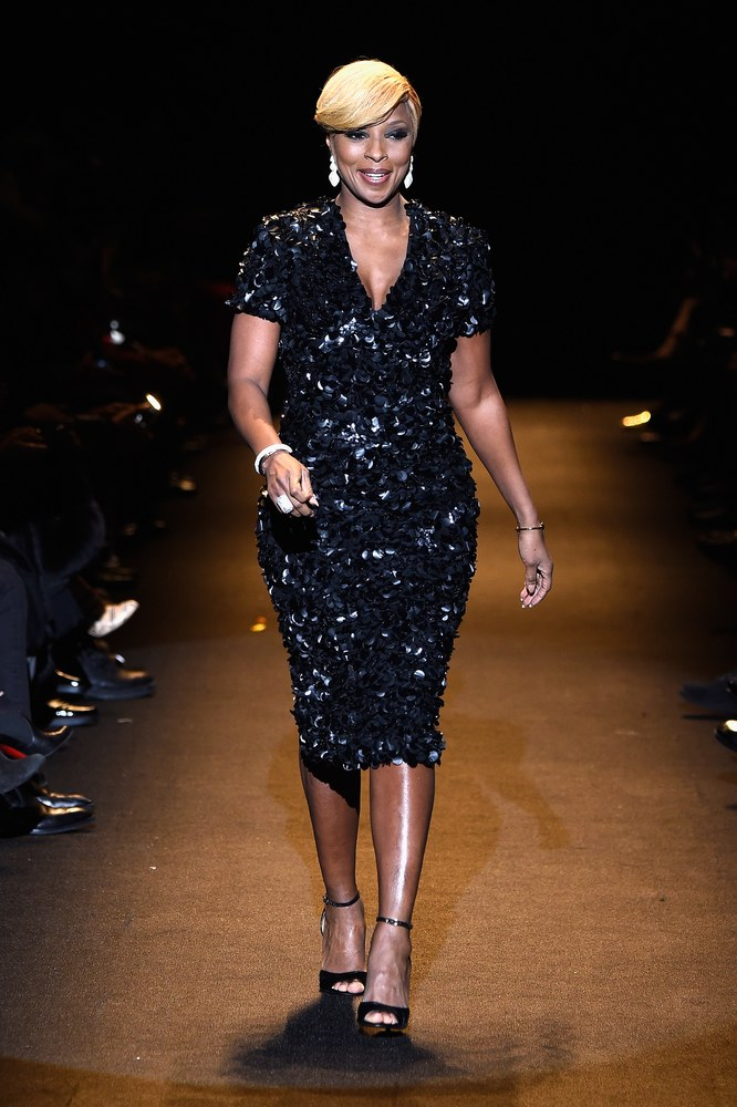Queen of the Runway models walk the runway at Naomi Campbell's Fashion for Relief Show Mary J. Blige