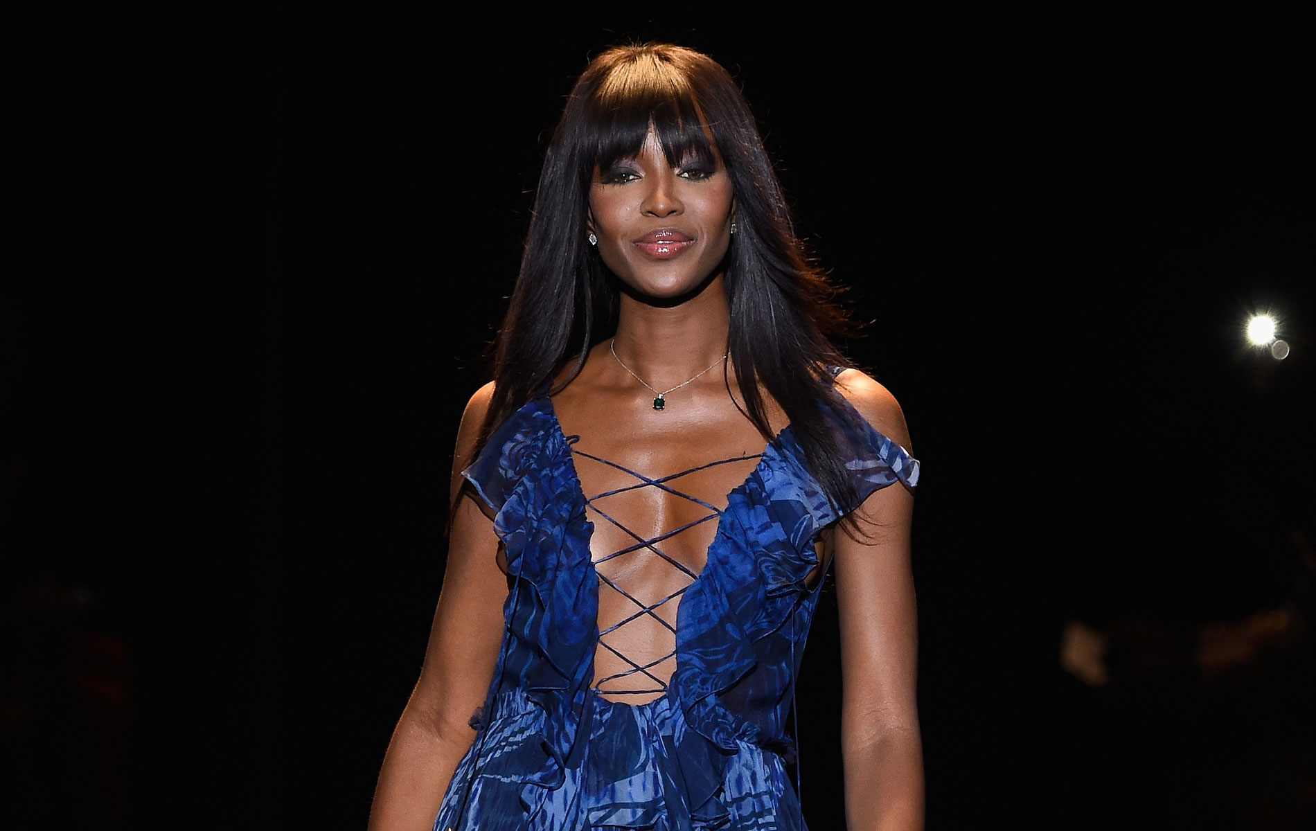 naomi campbell on the runway