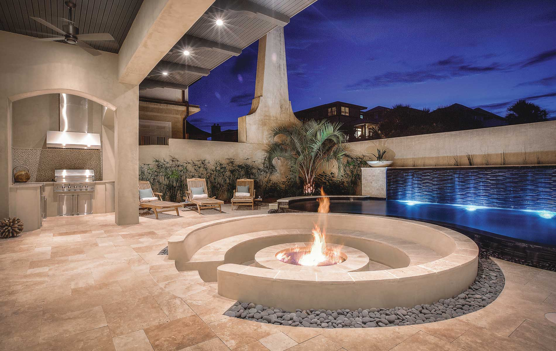 Outdoor fire with pool