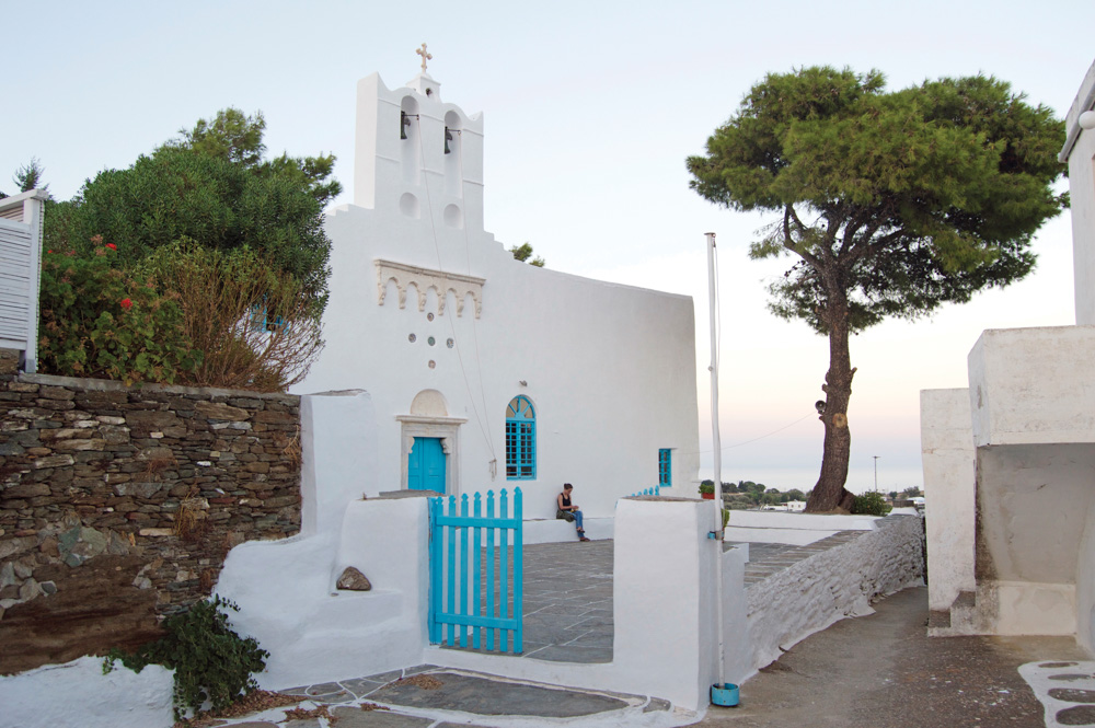 Greek church with blue fence