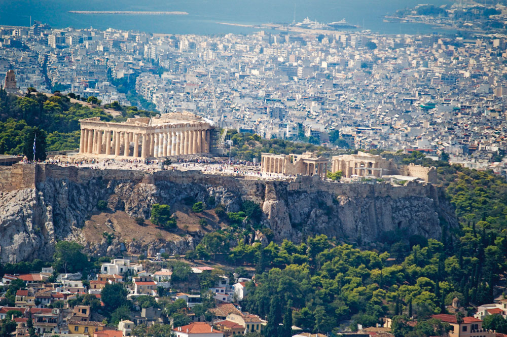 Acropolis of Greece with city in background