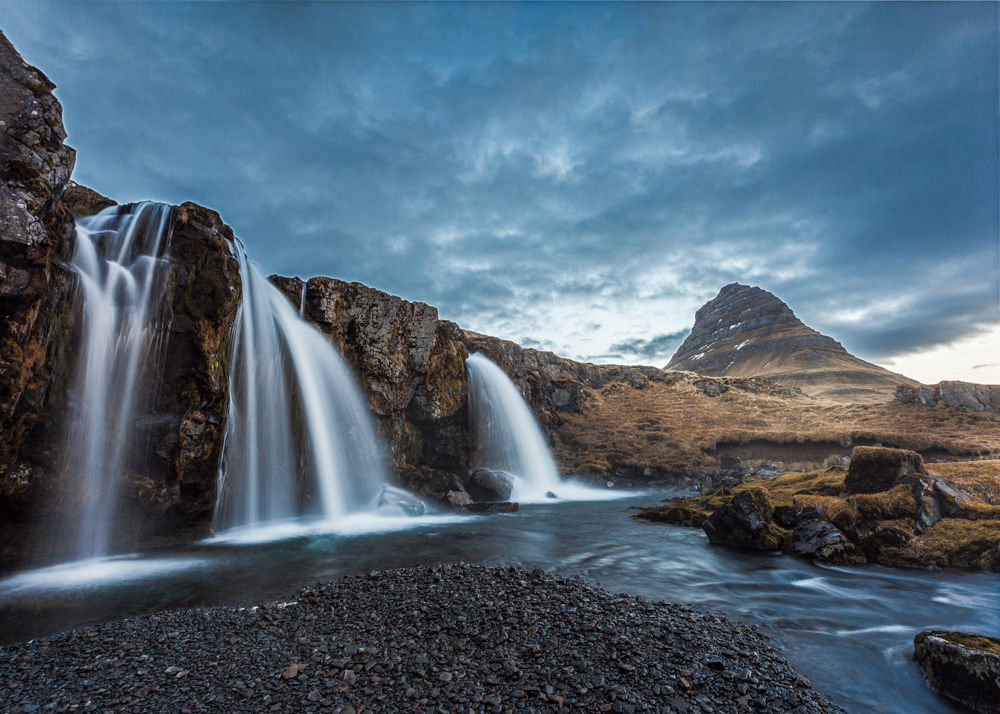 Iceland mountains and waterfalls