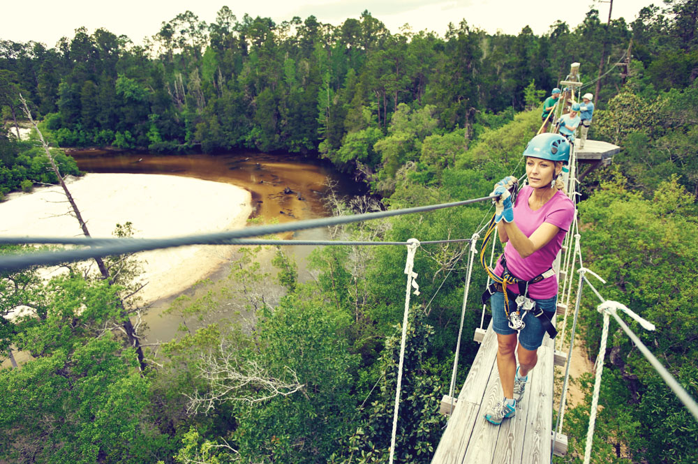 Adventures Unlimited, outdoor resort, Milton, Florida, hiking over bridge