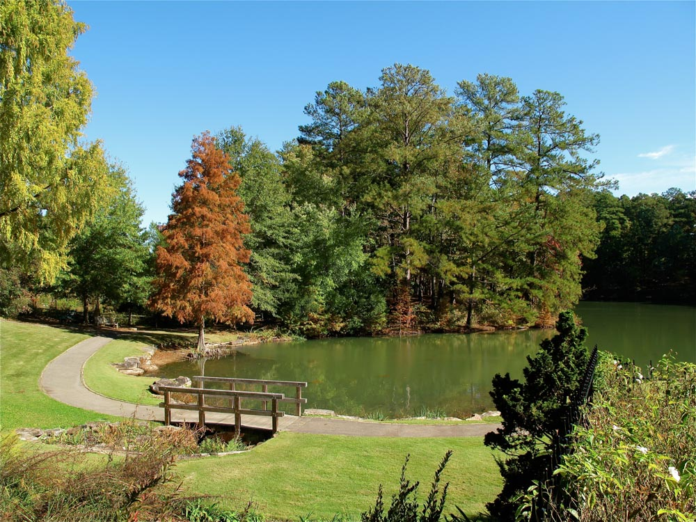 Lake and park bench in Aldridge Gardens