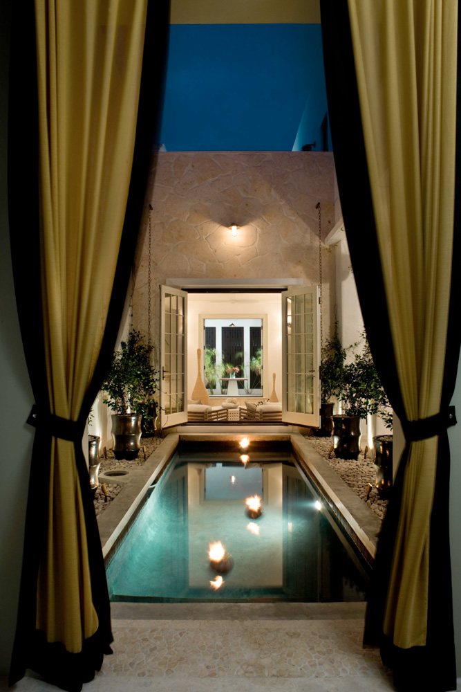 Night doorway to pool