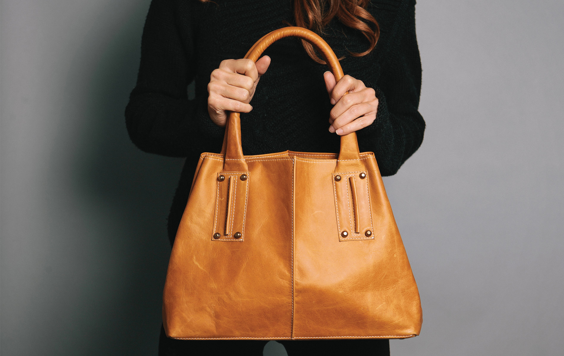 Ceri Hoover Cognac Colored Satchel With Single Topstitching